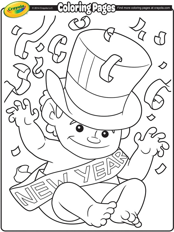 New Year's Clock coloring page