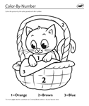 Kity on Basket Color by Number