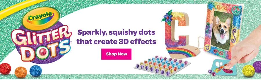 Crayola Glitter Dots  sparkly squishy dots that create 3D effects