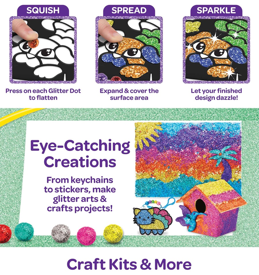Squish Spread Sparkle Create eye catching creations from keychains to stickers make glitter arts and crafts projects