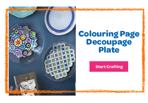 Colouring Page Decoupage Plate