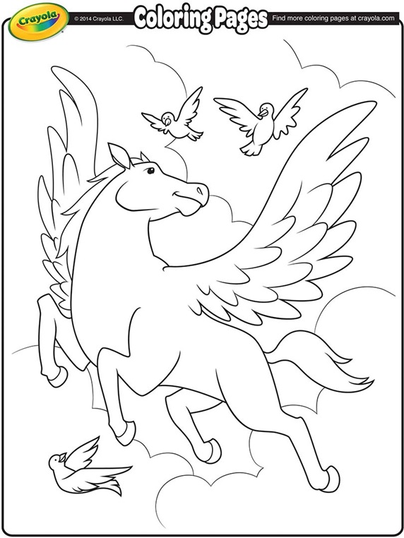 Pretty pegasus for Crayola color pages