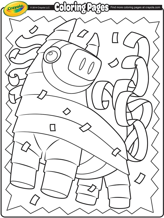 Cinco de mayo mexican festival flags coloring page